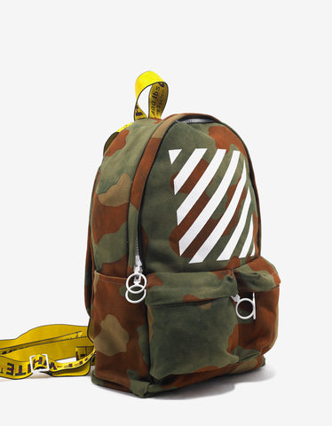 Off-White Diagonal Stripe Print Camouflage Backpack