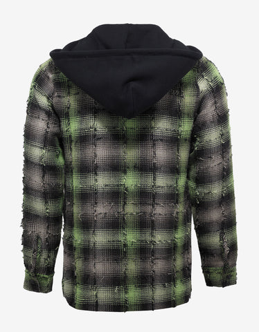 Off-White Green Check Hooded Shirt with Fraying Detail