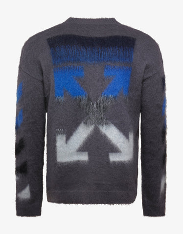 Off-White Grey Arrows Brushed Mohair Sweater