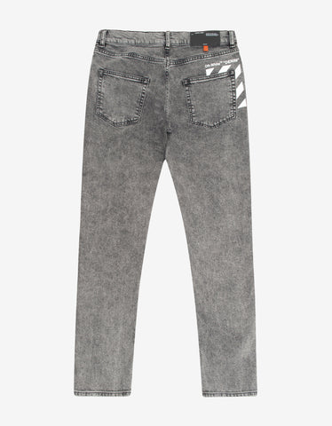 Off-White Grey Diagonals Print Skinny Jeans