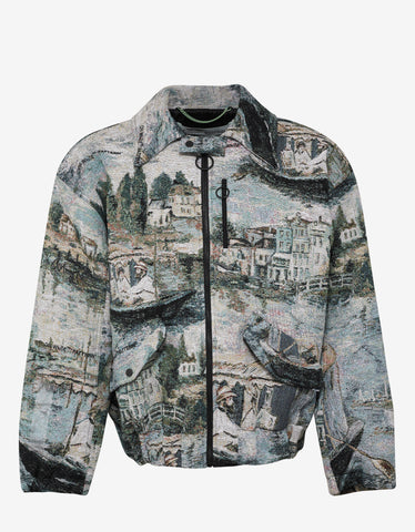 Lake Print Oversized Harrington Jacket