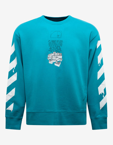 Off-White Light Blue Dripping Arrows Print Sweatshirt