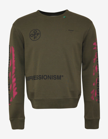 Off-White Military Green Stencil Arrows Print Sweatshirt