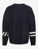 Navy Blue Oversized Wool Logo Sweater