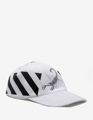 Off-White Othelo Scorpion Diagonal Print White Cap