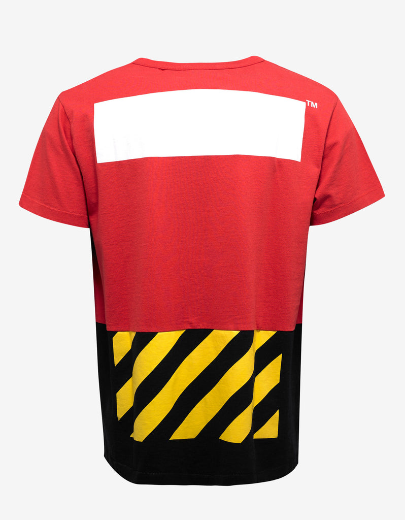 'White' Print Red & Black Patchwork T-Shirt