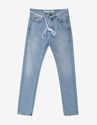 Off-White Blue Diagonal Spray Print Slim Jeans