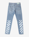 Blue Diagonal Spray Print Slim Jeans