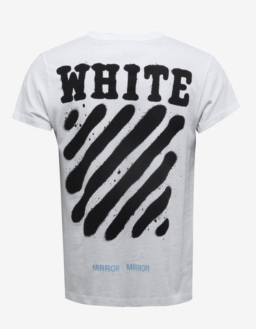 Off-White White Diagonal Spray Print T-Shirt