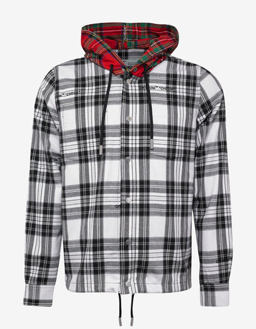 Off-White White Hooded Check Shirt