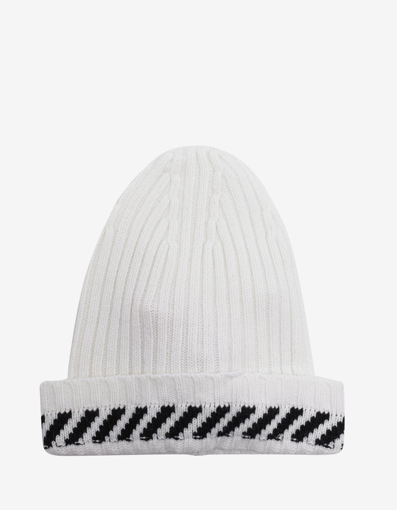 Diagonals White Beanie Hat