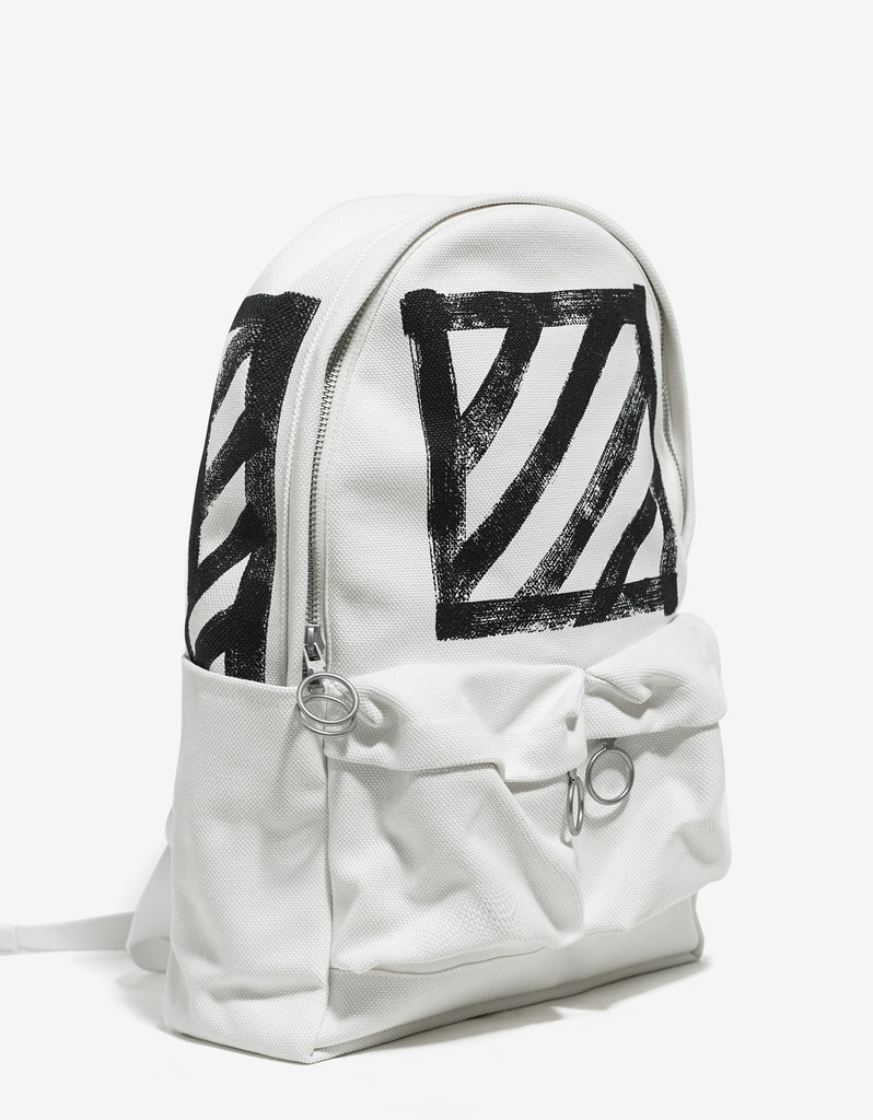 Brushed Diagonals White Canvas Backpack
