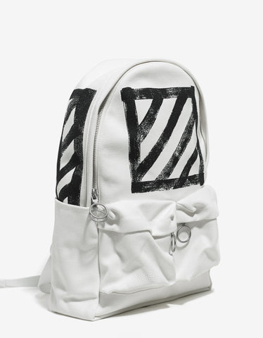 Off-White Brushed Diagonals White Canvas Backpack