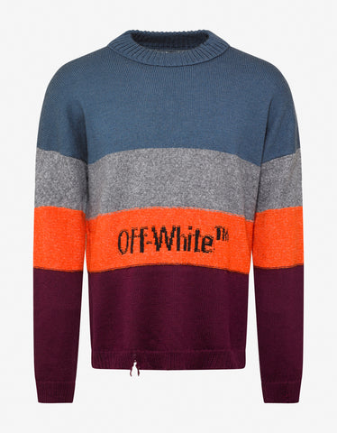 Off-White Multicolour Distressed Striped Sweater