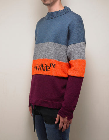 Multicolour Distressed Striped Sweater