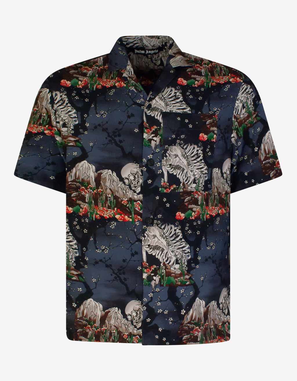 All-Over Skull Print Bowling Shirt