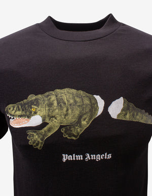 Black Crocodile Print T-Shirt