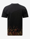 Black Tiger Flames Print T-Shirt