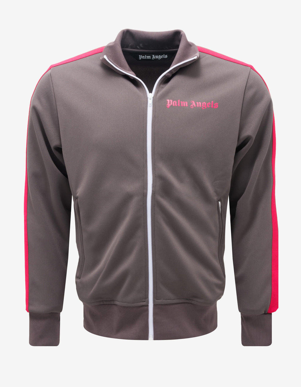 Grey Track Jacket with Magenta Stripes