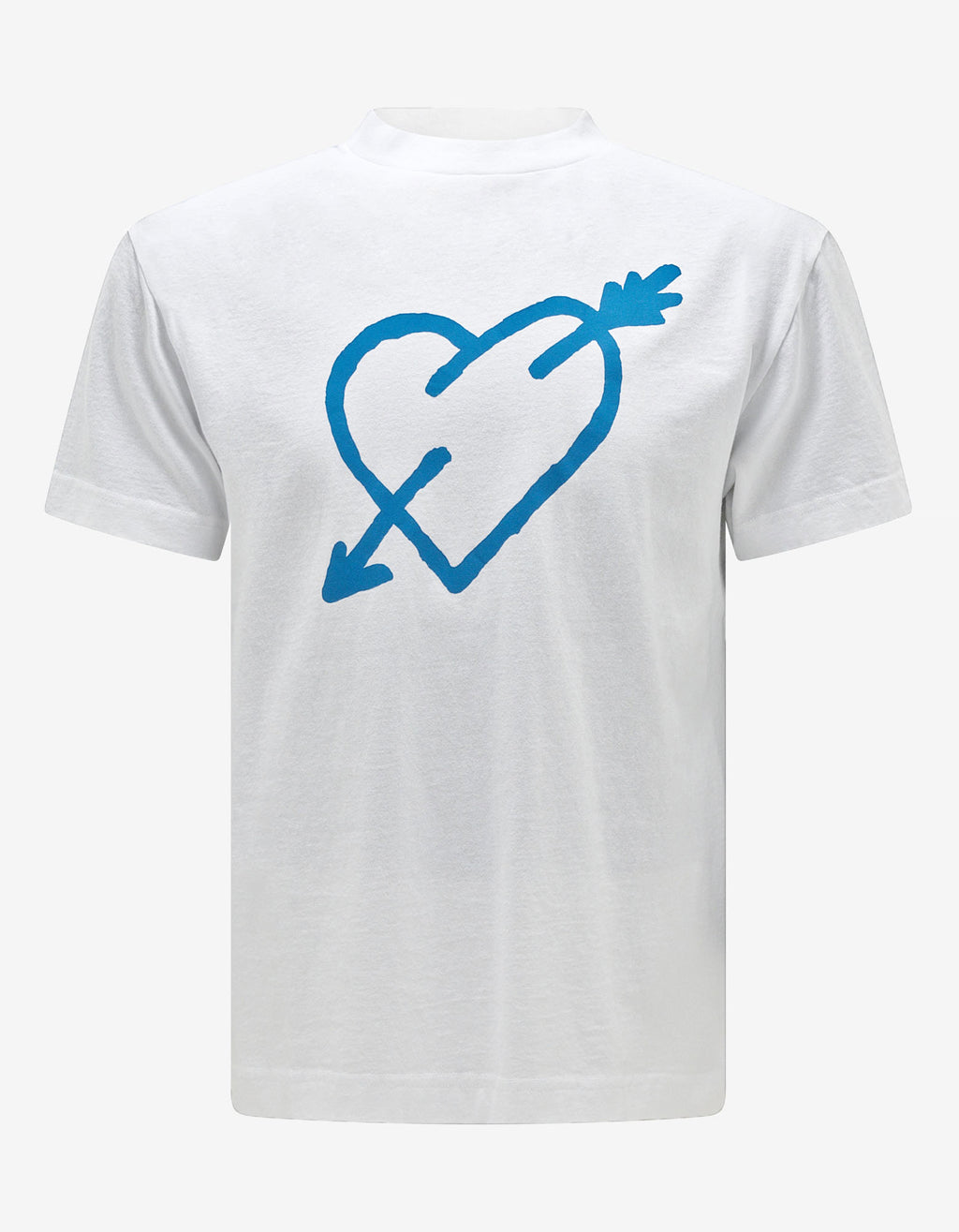 White Pierced Heart Print T-Shirt