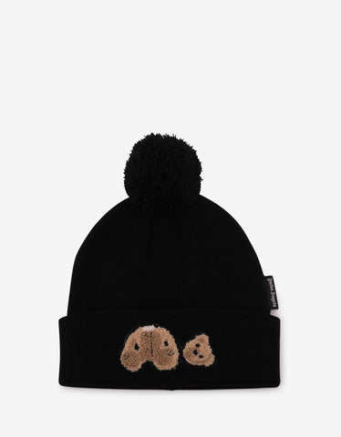 Palm Angels Black Kill The Bear Wool Beanie Hat