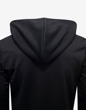 Black Logo Print Hooded Track Jacket