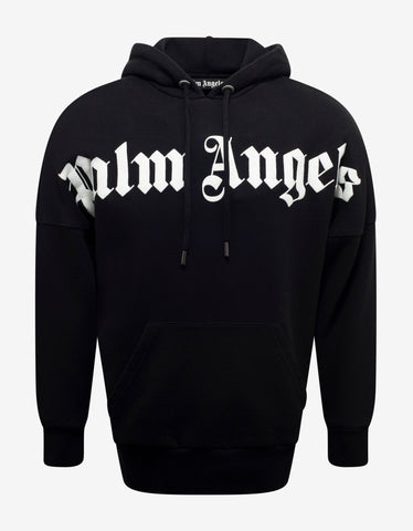 Palm Angels Black Logo Print Oversized Hoodie