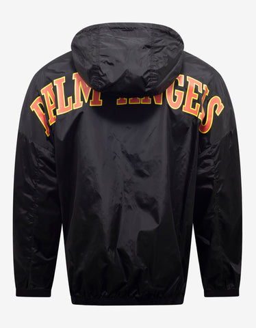 Palm Angels Black New College Logo Print Windbreaker