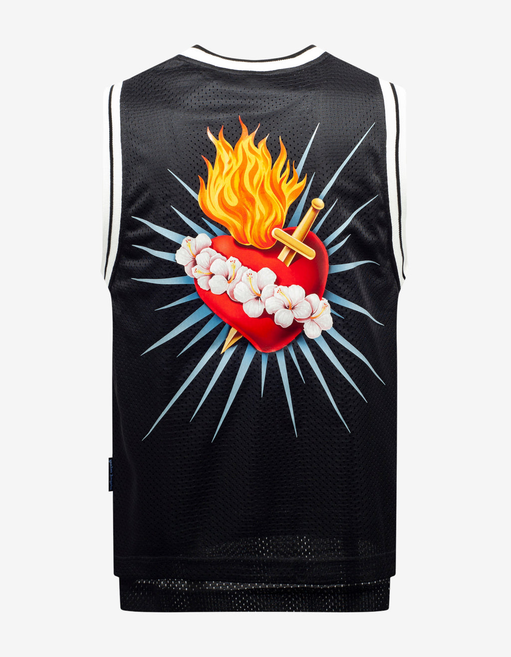 Black Sacred Heart Print Tank Top