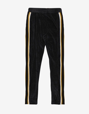 Palm Angels Black & Yellow Chenille Track Pants