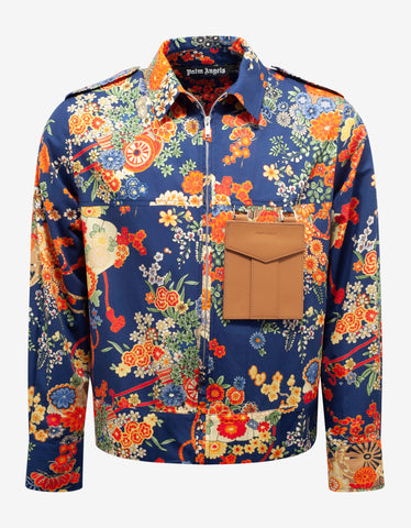 Palm Angels Blue Floral Print Blooming Pocket Shirt
