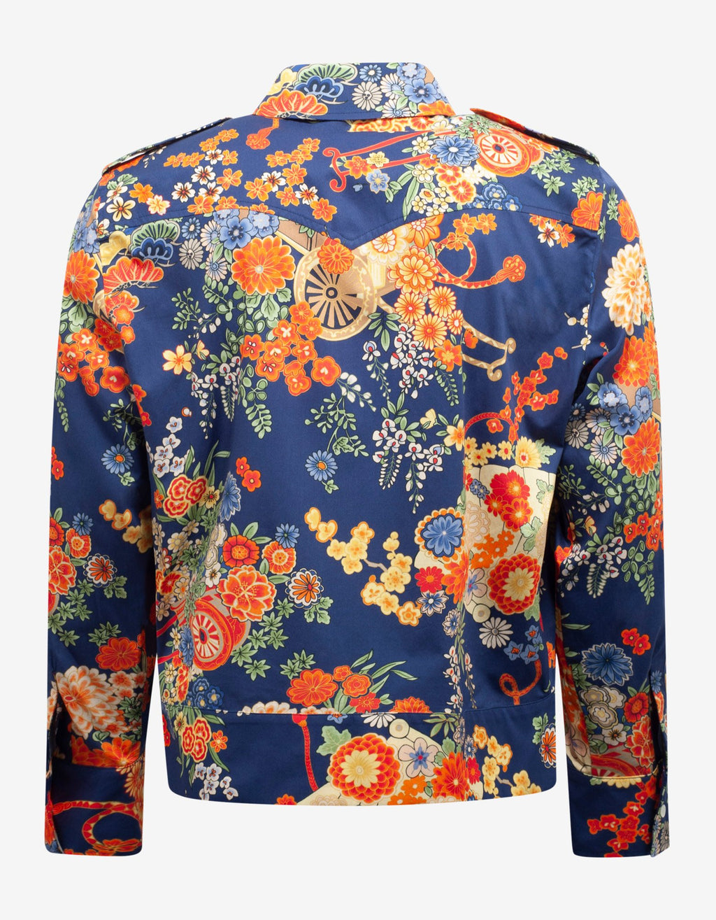 Blue Floral Print Blooming Pocket Shirt -