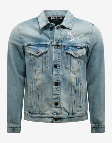 Palm Angels Blue Sacred Heart Print Denim Jacket