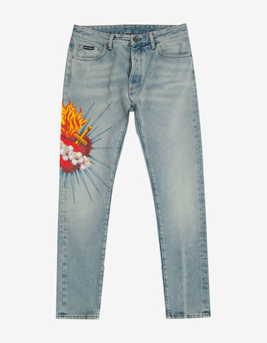 Light Blue Faded Biker Jeans