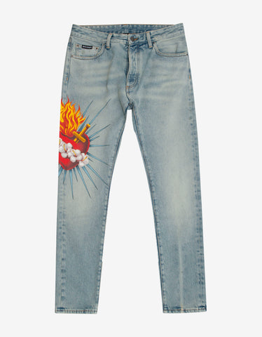 Palm Angels Blue Sacred Heart Print Straight-Leg Jeans