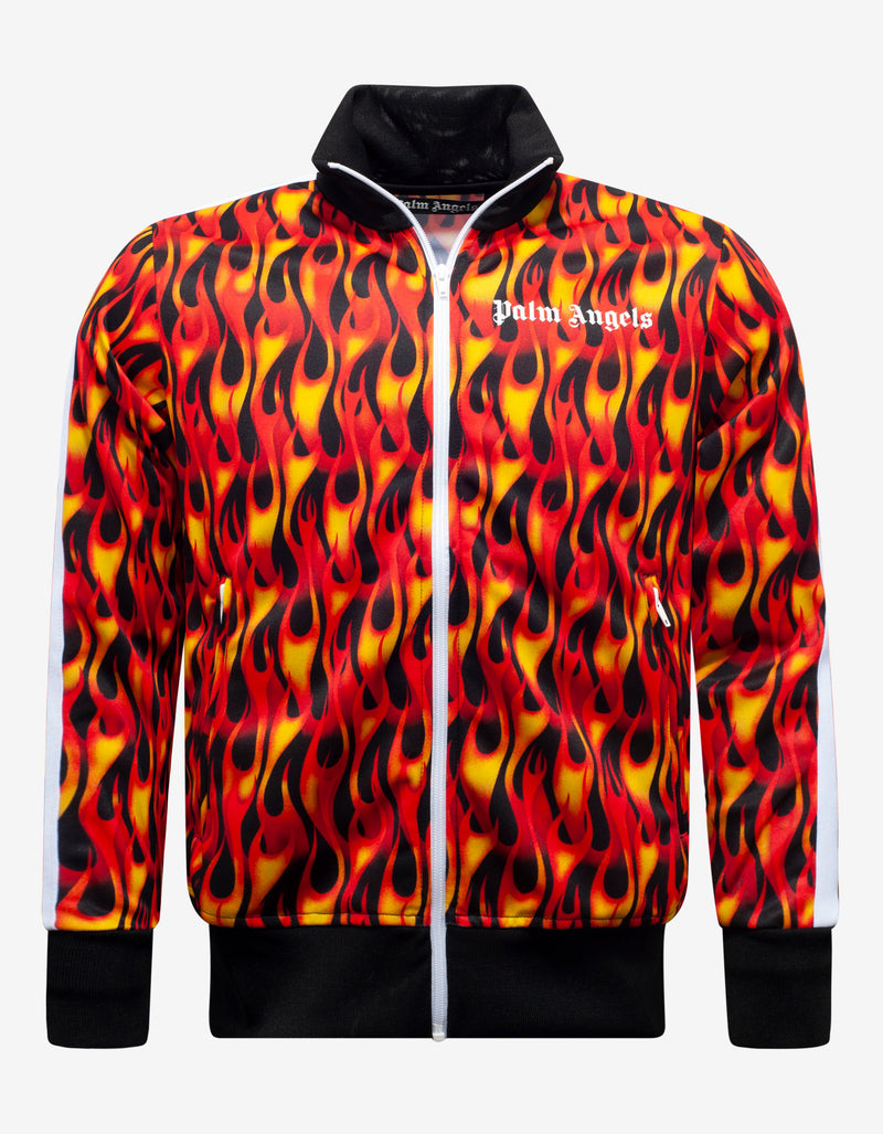 Orange Burning Print Track Jacket