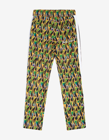 Palm Angels Green Burning Print Track Pants