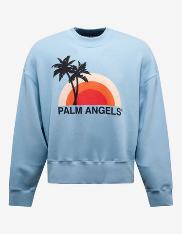 Palm Angels Light Blue Sunset Print Oversized Sweatshirt