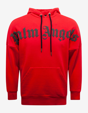 Palm Angels Red Logo Print Oversized Hoodie