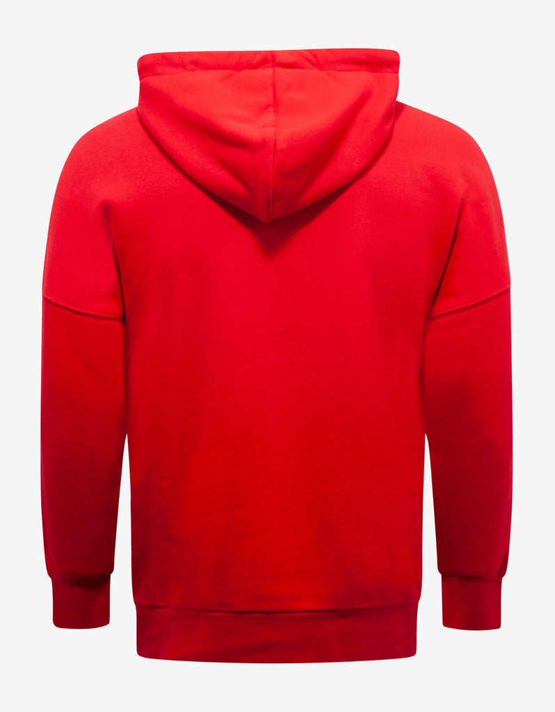 Red Logo Print Oversized Hoodie