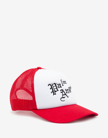 Palm Angels Red & White New Gothic Logo Cap