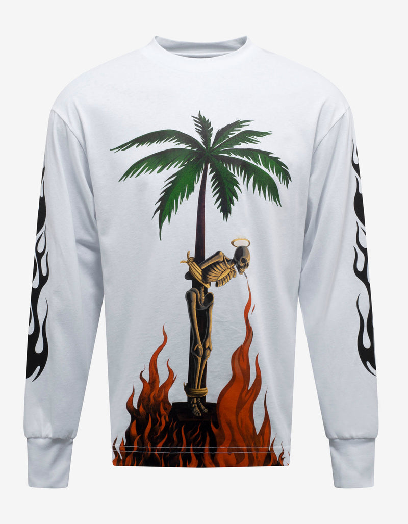 White Burning Skeleton Print Long Sleeve T-Shirt