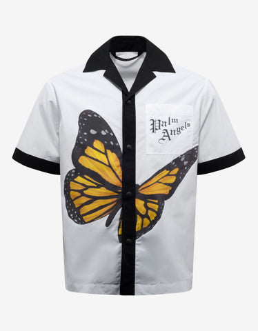 Palm Angels White Butterfly Print Bowling Shirt