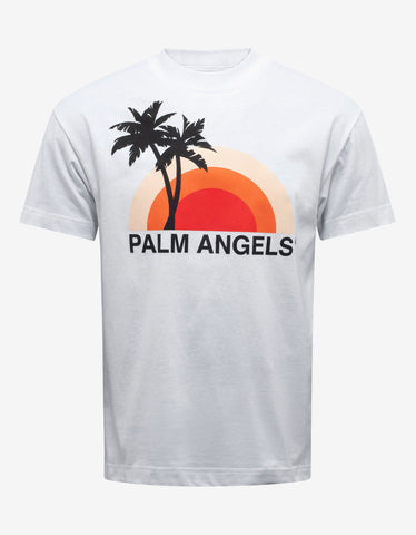 Palm Angels White Sunset Print T-Shirt