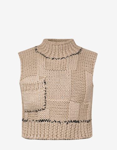 Beige Blow Up Sleeveless Knitwear