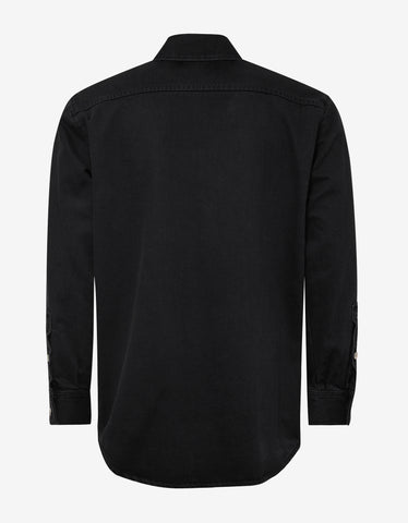Raf Simons Black Logo Patch Denim Shirt
