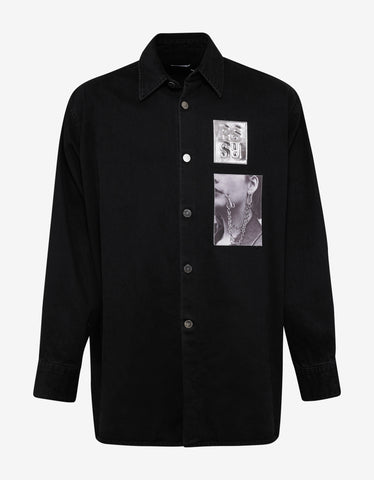 Raf Simons Black Denim Shirt with Two Patches