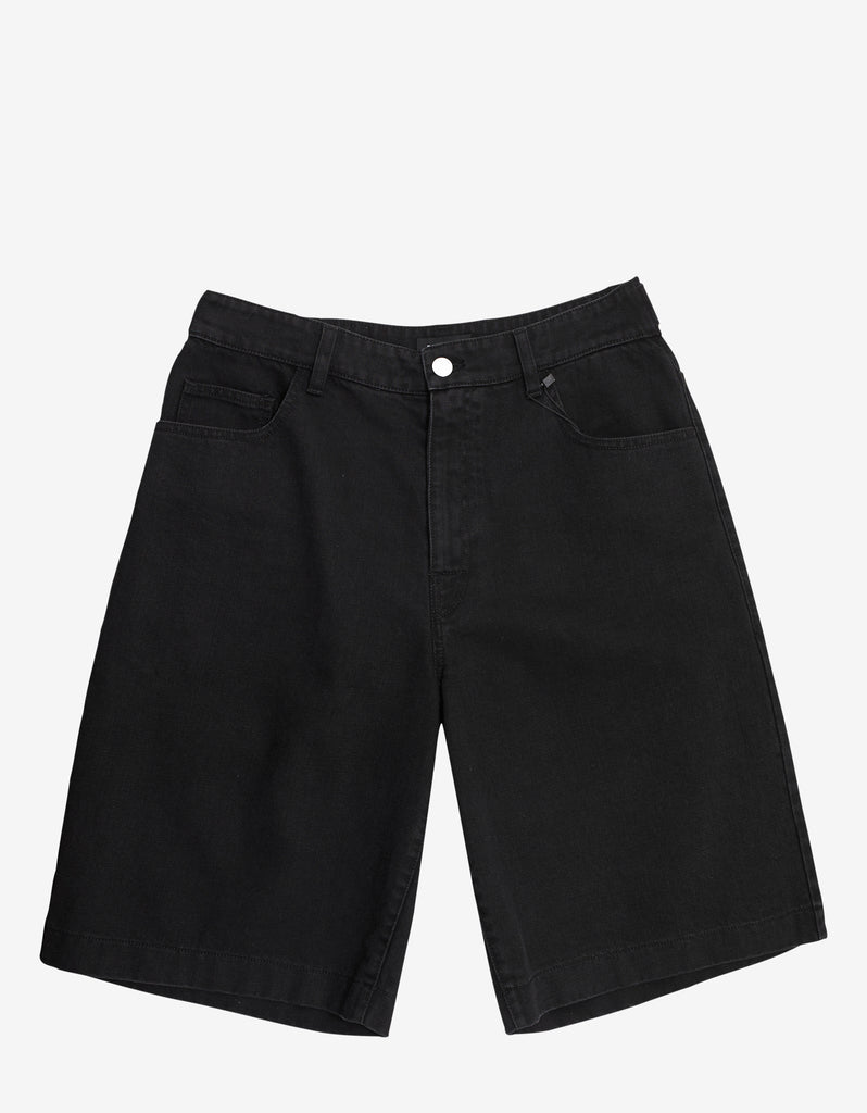 Black Denim Shorts with Two Patches