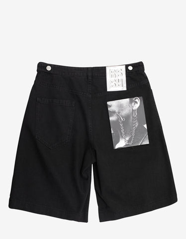 Raf Simons Black Denim Shorts with Two Patches