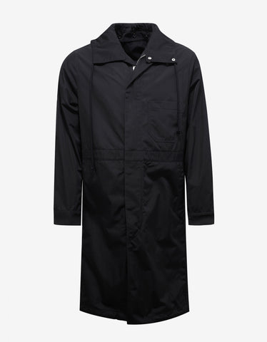 Raf Simons Black Workwear Parka with Flower Print